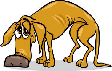 sad homeless dog cartoon illustration