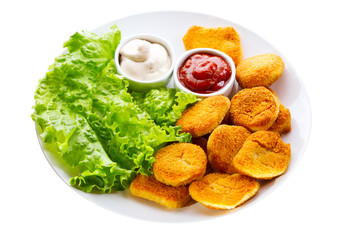 plate of chicken nuggets