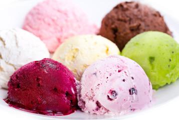 various scoops of ice cream