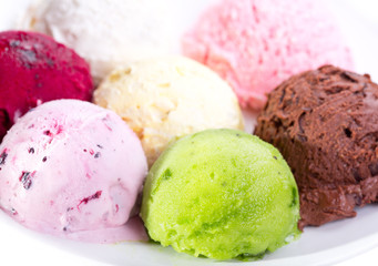 various scoops of ice cream