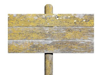 Old wooden sign isolated on white background