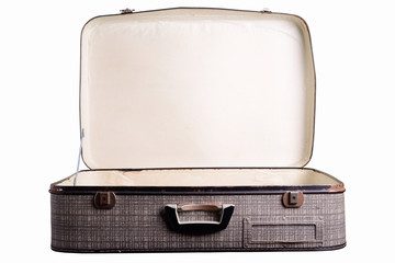 cardboard suitcase isolated on white
