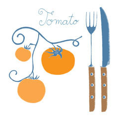 Tomato label with knife and fork