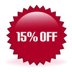 Fifteen Percent Off Discount Sticker