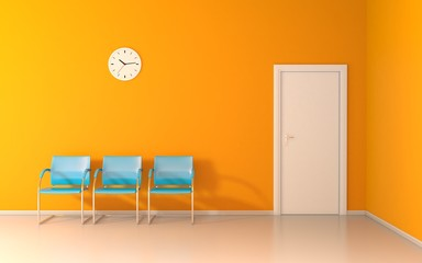 Three blue chairs and wall clock in the waiting room
