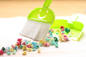 Montessori dustpan and brush cleaning