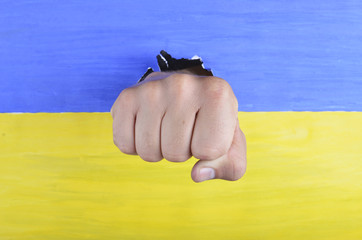 Ukrainian flag and fist