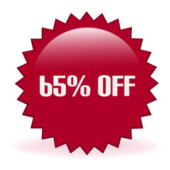 Sixty Five Percent Off Discount Sticker