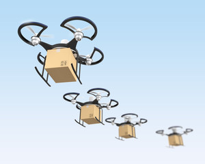 Air drone flying in line to delivery carton parcels