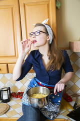 Woman at sexy suit eating noodles