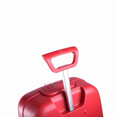 red trolley suitcase isolated on white