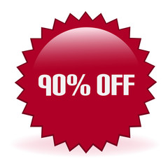 Ninety Percent Off Discount Sticker