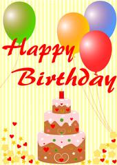 Happy Birthday mit Geburtstagstorte und Luftballons