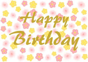Happy Birthday auf gelben und rosa Blüten