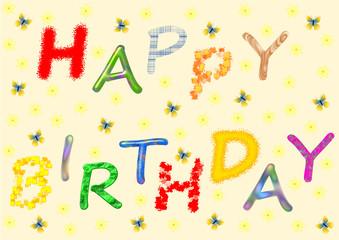 Happy Birthday in bunten Buchstaben