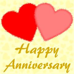 Happy Anniversary mit zwei großen Herzen