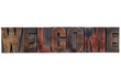 welcome word in wood type