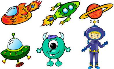 Astronaut, rockets, alien and planet