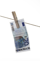 20 Banknote hängen Wäscheleine