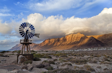 Windmills and the sky in Lanzarote insland.Spain