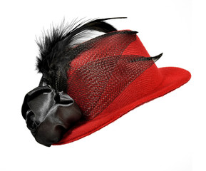 Vintage red  lady's hat with  black feathers