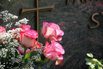 Rosen vor Grabstein