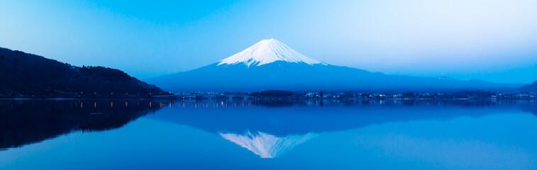 Panoramic view of Mt  Fuji rises above Lake Kawaguchi
