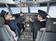 canvas print picture - Deutschland,Bayern,München,Pilot und Co-Pilot Pilotierung Flugzeug von Flugzeug-Cockpit