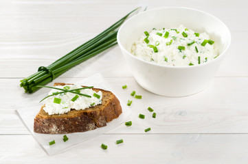 Sandwich with cream cheese and chives