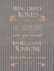Quote Typographical postcard about love