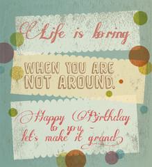 Quote Typographical happy birthday, retro design