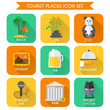 Tourist Places Icons Set