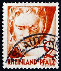 Postage stamp Rhine, Germany 1948 Ludwig van Beethoveen