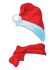 Vector Santa's hat and  scarf  isolated.