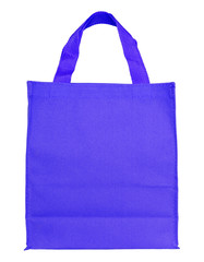 blue canvas shopping bag isolated on white background with clipp