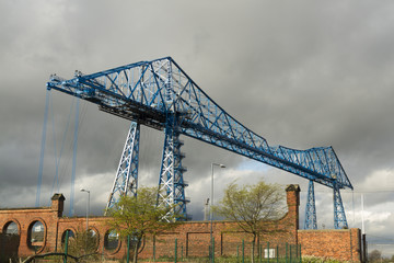 Large blue girders, Tees Transporter Bridge, Middlesbrough, Engl