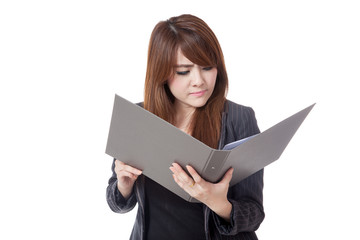 Asian office girl unhappy read data from folder