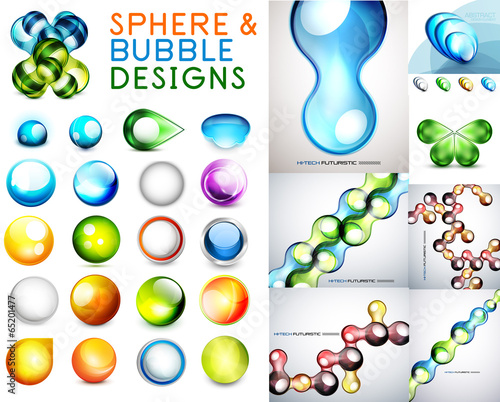 Vector set of sphere and bubble designs