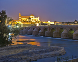 old roman bridge and tower mosque at night, Cordoba