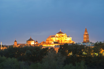 Mezquita Cathedral in Cordoba at night, Andalusia, Spain.