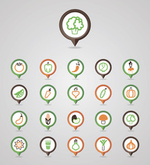 Vegetables mapping pins icons