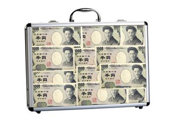 Koffer voll mit Yen Geldscheine