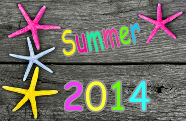 summer 2014 background with starfish frame on vintage old wood