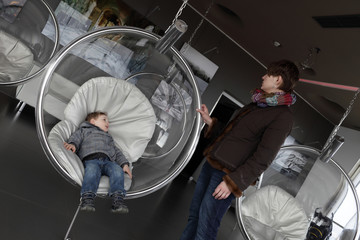 Mother and son at observatory