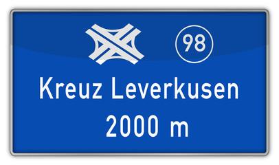 Hinweisschild auf A1 Kreuz Leverkusen