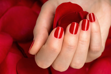 Beautiful female finger nails with red nail closeup on petals