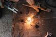 welder Welding Sparks  steel in factory