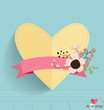 Heart paper with floral bouquets and ribbon, vector illustration