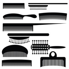 silhouettes of combs