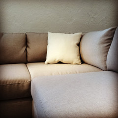Fabric sofa with cushion